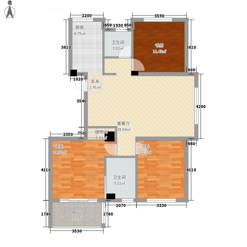 西城枫景127.00㎡11、12#楼边套户型3室2厅2卫1厨
