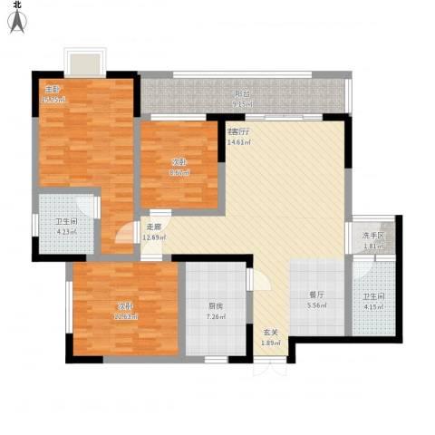 岳屏明珠苑3室1厅2卫1厨143.00㎡户型图