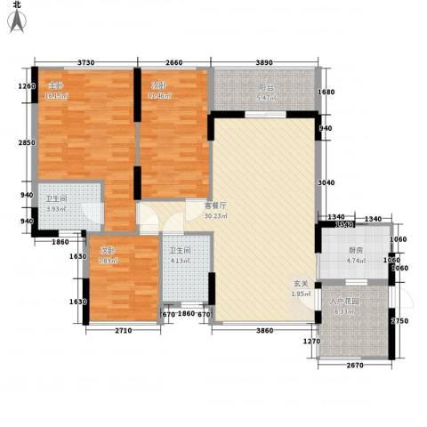 丽郡3室1厅2卫1厨90.32㎡户型图