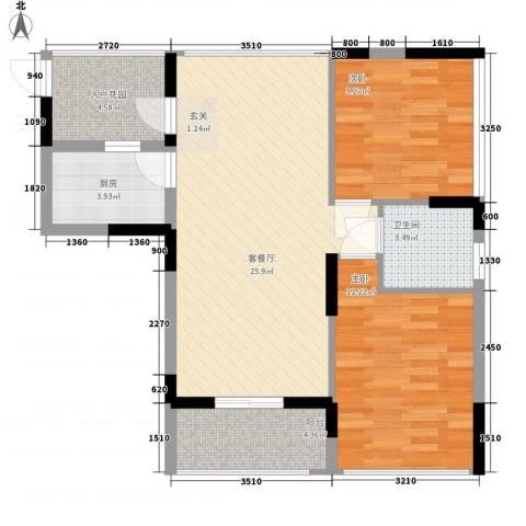 丽郡2室1厅1卫1厨75.00㎡户型图