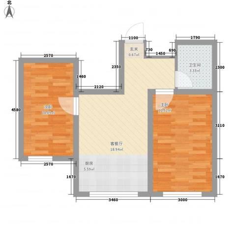 水景阁2室1厅1卫0厨65.00㎡户型图
