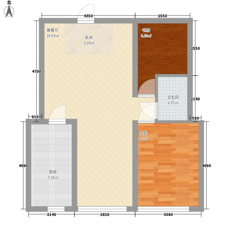 龙城・水景花园83.75㎡多层户型2室2厅1卫1厨