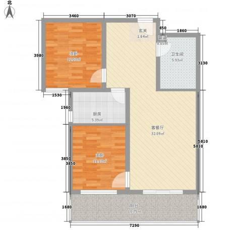 金基泰和苑2室1厅1卫1厨87.70㎡户型图