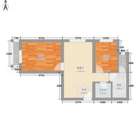 史家新村2室1厅1卫1厨40.80㎡户型图