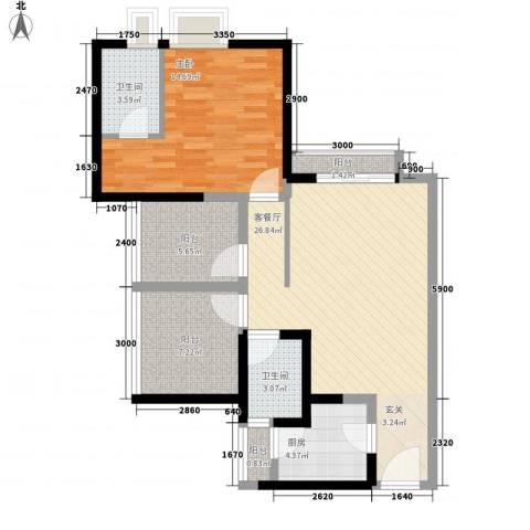 魅力空间1室1厅2卫1厨99.00㎡户型图