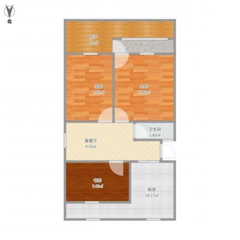 艮园3室1厅1卫1厨82.00㎡户型图