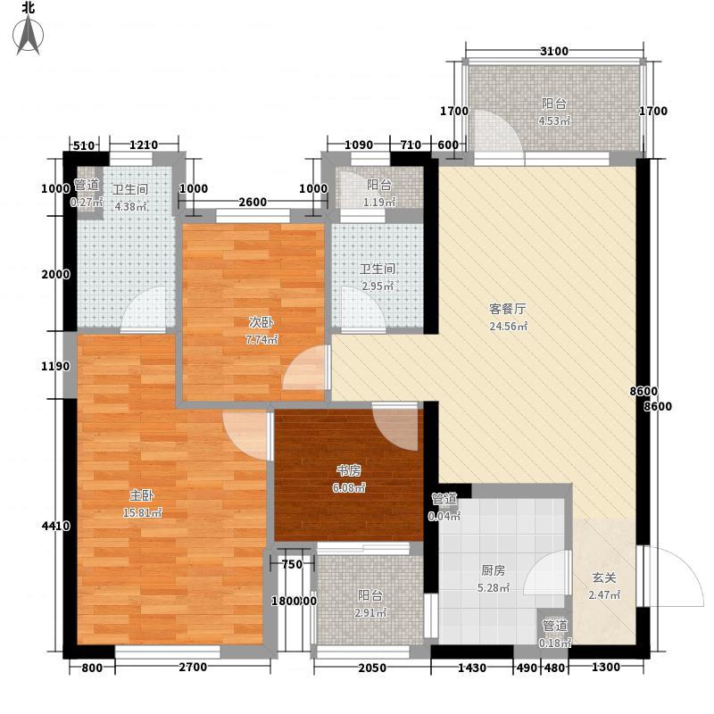 万科金色悦城16.25㎡1#楼、2#楼A座01单元户型3室2厅2卫1厨