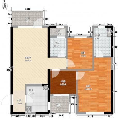 万科金色悦城3室1厅2卫1厨75.95㎡户型图