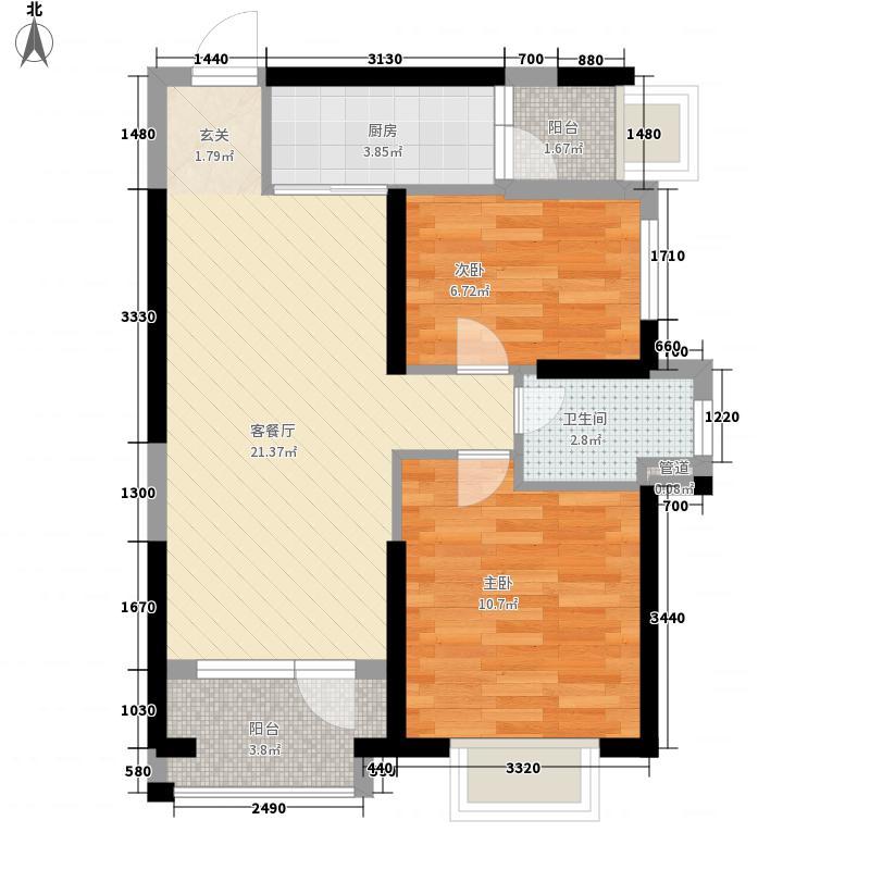 万科金色悦城76.00㎡二期3#楼户型2室2厅1卫1厨