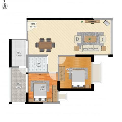万威美地1室1厅1卫1厨95.00㎡户型图