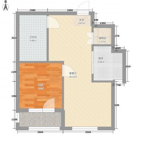 中裕金街广场1室1厅1卫1厨59.00㎡户型图