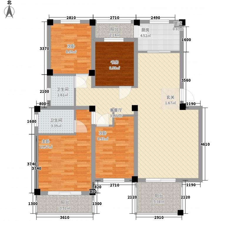 融基丽景园135.00㎡D户型4室2厅2卫1厨