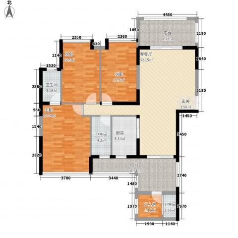嘉宏世纪豪庭3室1厅3卫1厨158.00㎡户型图