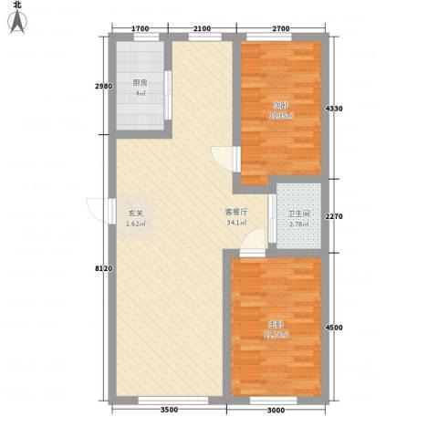 中裕金街广场2室1厅1卫1厨88.00㎡户型图