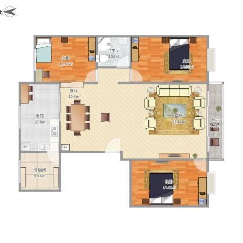 康宁小区3室1厅1卫1厨147.00㎡户型图