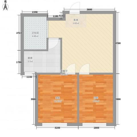 中裕金街广场2室1厅1卫1厨68.00㎡户型图