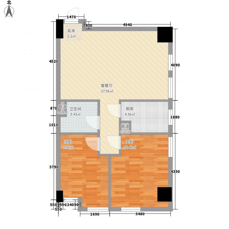 青庭82.54㎡十户型2室2厅1卫1厨