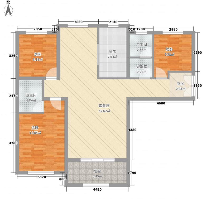 恒翔金水苑134.12㎡15-16#、18#、21#、23-24#K1户型3室2厅2卫1厨
