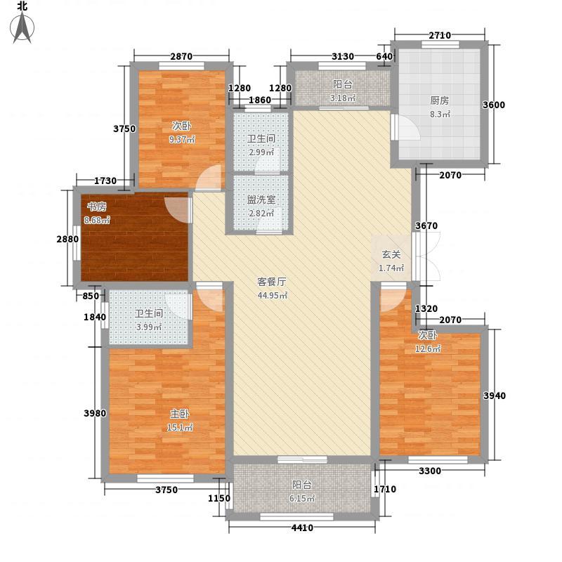 恒翔金水苑168.60㎡H1户型4室2厅2卫1厨