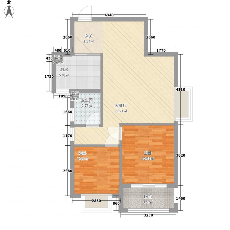 瀛洲宁海81.00㎡E户型2室2厅1卫1厨