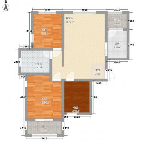 丰惠华丽家族3室1厅1卫1厨100.00㎡户型图