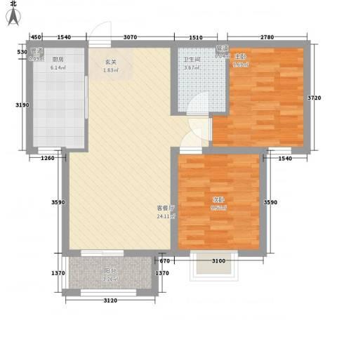 三泰丽园2室1厅1卫1厨81.00㎡户型图
