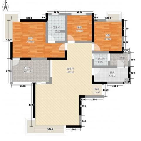 春风城市心筑3室1厅2卫1厨124.00㎡户型图