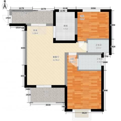 三泰丽园2室1厅2卫1厨96.00㎡户型图
