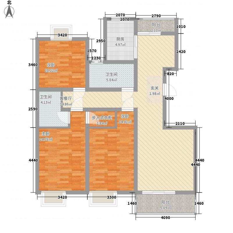 汇景新城142.70㎡D户型3室2厅2卫