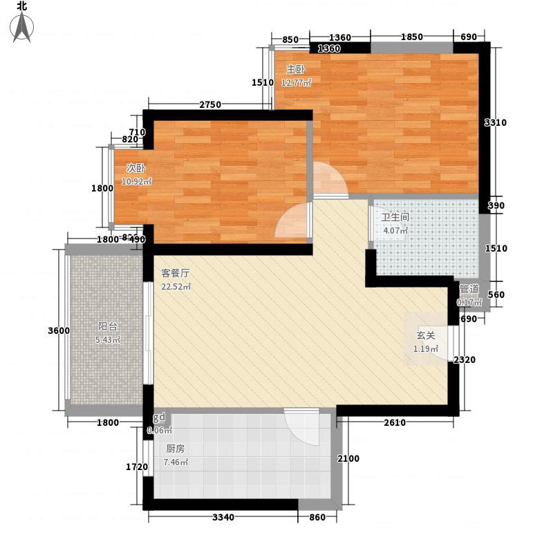 曲江品筑85.51㎡B户型2室2厅1卫1厨