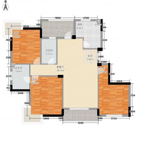 康华・心海湾3室1厅2卫1厨143.00㎡户型图