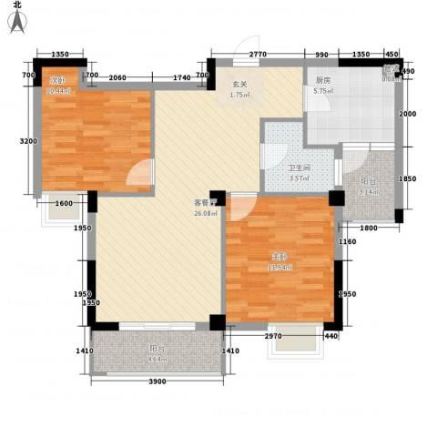 康华・心海湾2室1厅1卫1厨88.00㎡户型图