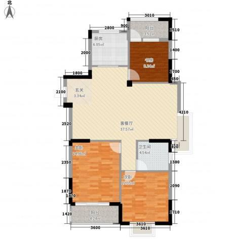 康华・心海湾3室1厅1卫1厨118.00㎡户型图