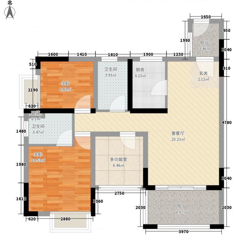 雅景・阳光城8.80㎡4-8幢标准层02、05户型3室2厅2卫1厨