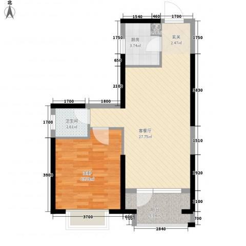 万科金色悦城1室1厅1卫1厨74.00㎡户型图