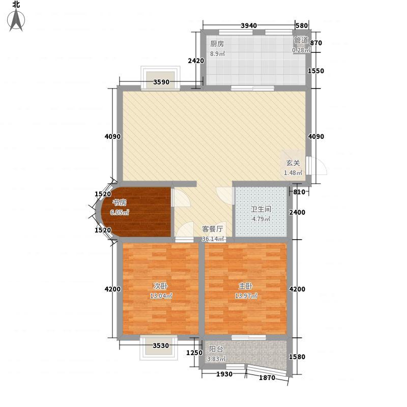 东方明珠3室1厅1卫1厨124.00㎡户型图