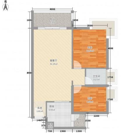 景湖时代城2室1厅1卫1厨86.00㎡户型图