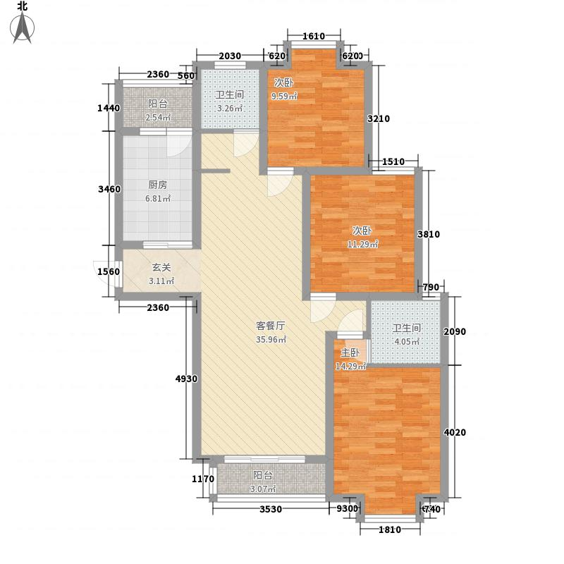 滨湖城市132.00㎡H户型3室2厅2卫1厨