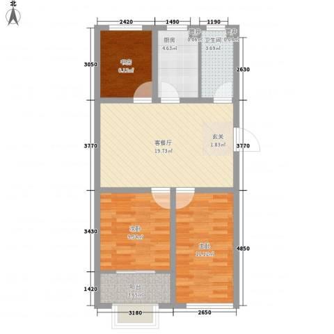 香岸花园3室1厅1卫1厨86.00㎡户型图
