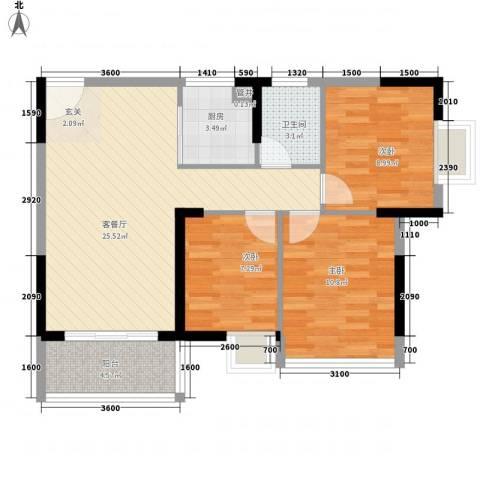 金茂伊顿公馆3室1厅1卫1厨88.00㎡户型图