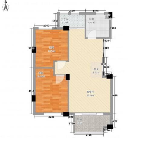 御盛花园2室1厅1卫1厨85.00㎡户型图