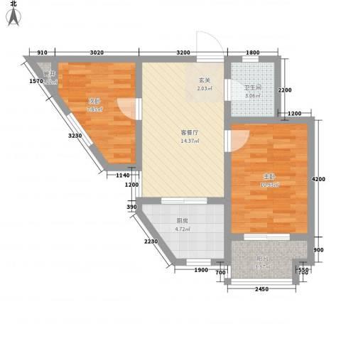 君逸左岸2室1厅1卫1厨62.00㎡户型图