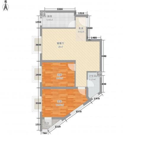 君逸左岸2室1厅1卫1厨85.00㎡户型图