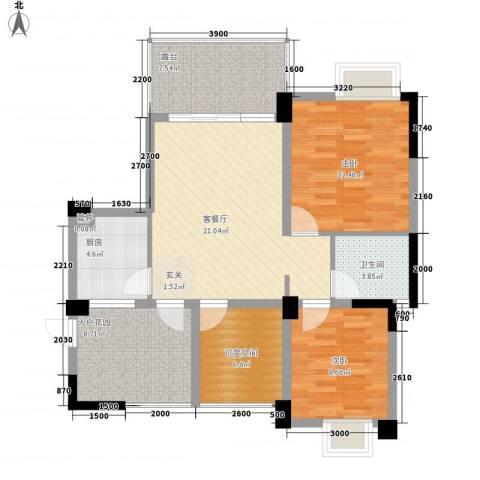 南桥春天2室1厅1卫1厨73.32㎡户型图