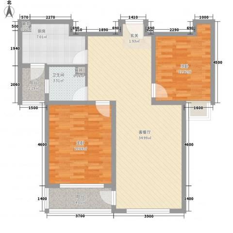 华勤紫金城2室1厅1卫1厨78.60㎡户型图