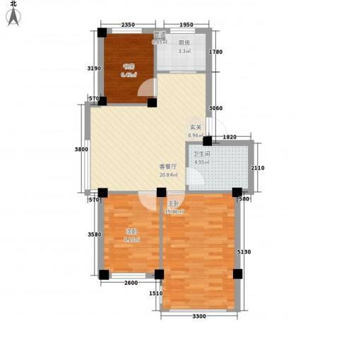 黄府家园3室1厅1卫1厨81.00㎡户型图