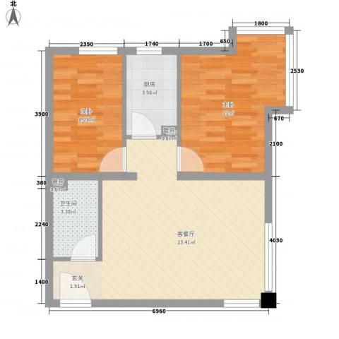 海岸星期天2室1厅1卫1厨72.00㎡户型图