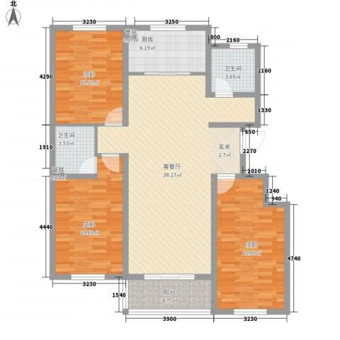北里洋房3室1厅2卫1厨98.49㎡户型图