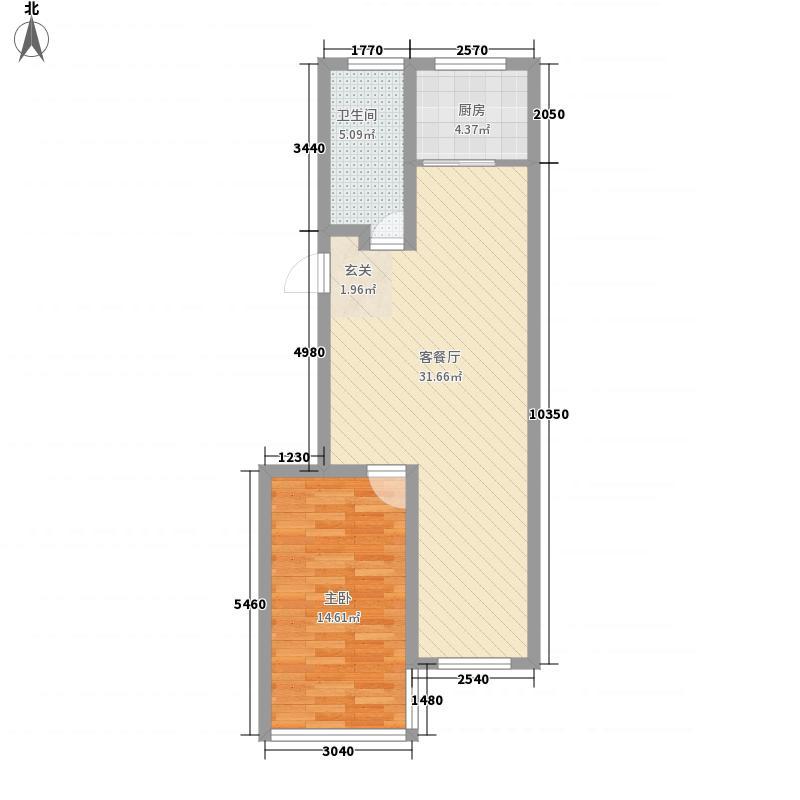 丰谷园78.20㎡户型1室2厅1卫1厨