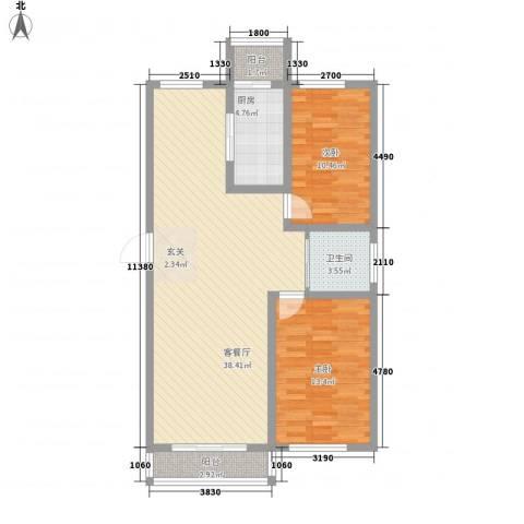 丰和日丽2室1厅1卫1厨105.00㎡户型图